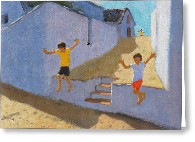 Jumping Off A Wall Greeting Card by Andrew Macara