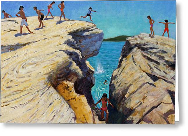 Skiathos Greeting Cards - Jumping off the rocks Greeting Card by Andrew Macara