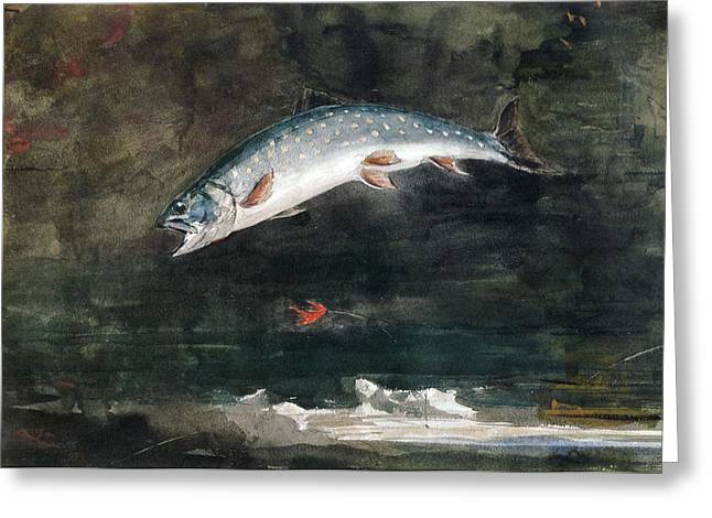 Winslow Homer Digital Art Greeting Cards - Jumping Trout Greeting Card by Winslow Homer