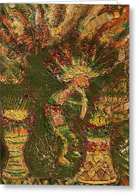 Jumpinjack Flash Kokopelli Greeting Card by Anne-Elizabeth Whiteway