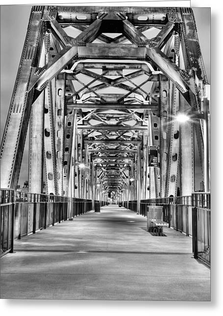 Little Rock Arkansas Greeting Cards - Junction Pedestrian Bridge BW Greeting Card by JC Findley