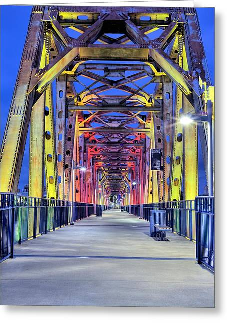 Arkansas Greeting Cards - Junction Pedestrian Bridge Greeting Card by JC Findley