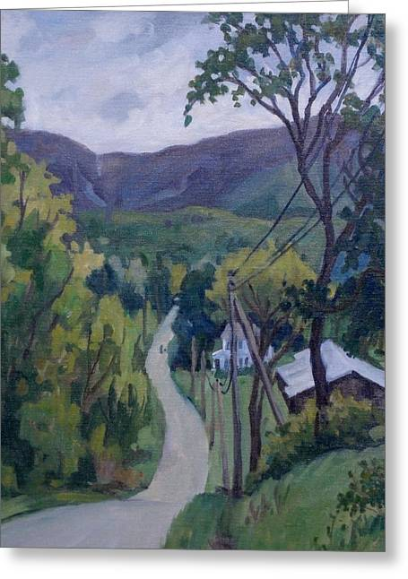 Abstract Realist Landscape Greeting Cards - June Drizzle Greeting Card by Thor Wickstrom