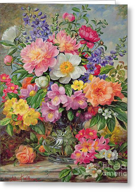 Recently Sold -  - Blooms Greeting Cards - June Flowers in Radiance Greeting Card by Albert Williams