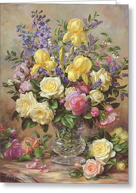 Flower Still Life Greeting Cards - Junes Floral Glory Greeting Card by Albert Williams