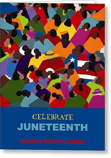 Slavery Paintings Greeting Cards - Juneteenth  Greeting Card by Synthia SAINT JAMES