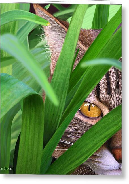 Photorealistic Greeting Cards - Jungle Cat Greeting Card by Bob Nolin