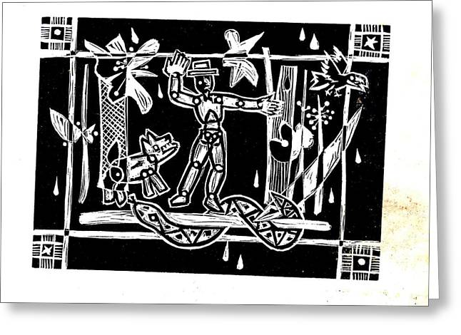 Lino Greeting Cards - Jungle Codex Greeting Card by Charles Snyder