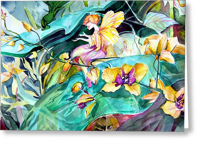 Mystical Drawings Greeting Cards - Jungle Garden Spirits Greeting Card by Mindy Newman