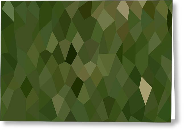 Olive Drab Greeting Cards - Jungle Green Abstract Low Polygon Background Greeting Card by Aloysius Patrimonio