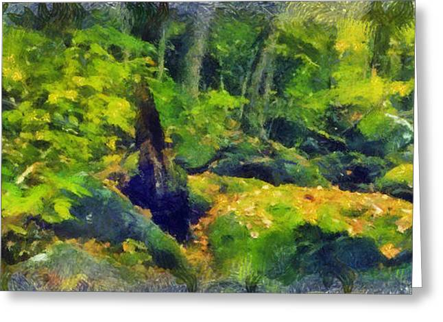 Raining Pastels Greeting Cards - Jungle Green Greeting Card by Russ Harris