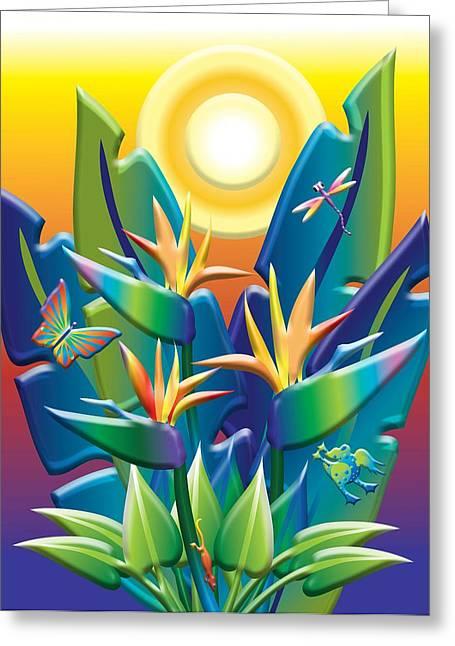 Flying Frog Digital Greeting Cards - Jungle Joy Greeting Card by Jack Potter