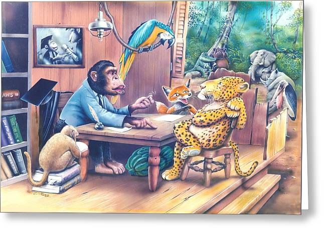 Consultant Office Greeting Cards - Jungle lawyer Greeting Card by Tuvia Kurz