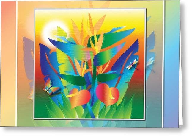 Jungle Sunset Greeting Card by Jack Potter