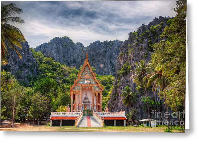 Buddhism Digital Art Greeting Cards - Jungle Temple Greeting Card by Adrian Evans