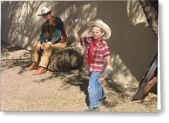 Junior Gunslinger With Doting Dad O.k. Corral Gunfight Site Tombstone Arizona 2004 Greeting Card by David Lee Guss