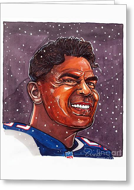 Seau Greeting Cards - Junior Seau Greeting Card by Dave Olsen
