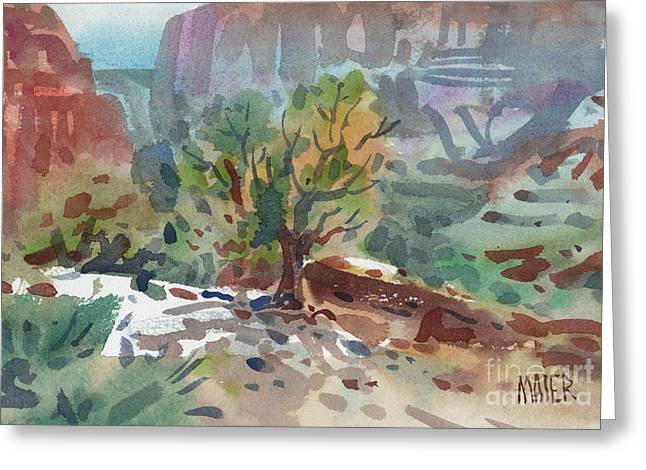 Canyons Paintings Greeting Cards - Juniper in Canyon de Chelly Greeting Card by Donald Maier
