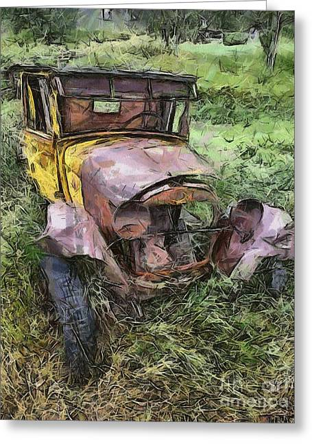 Old Trucks Drawings Greeting Cards - Junk Truck Greeting Card by Murphy Elliott