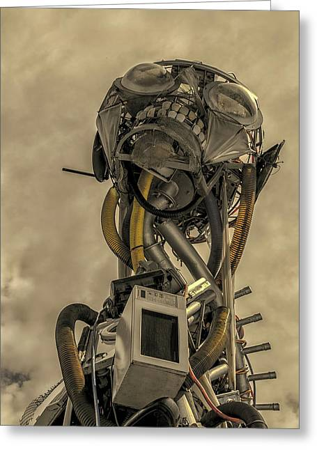 Junk Yard Robot Greeting Card by Martin Newman