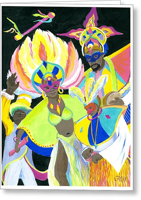 Junkanoo Dancers Greeting Card by Florence Bramley Hill