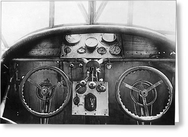 Steer Greeting Cards - Junker Plane Cockpit Greeting Card by Underwood Archives