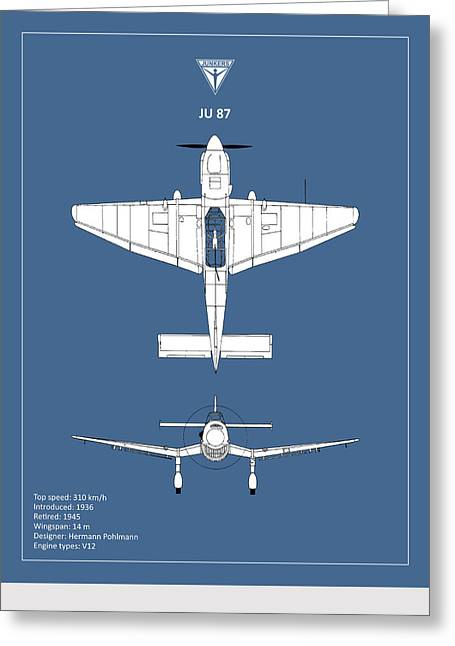 Junker Greeting Cards - Junkers JU 87 Greeting Card by Mark Rogan