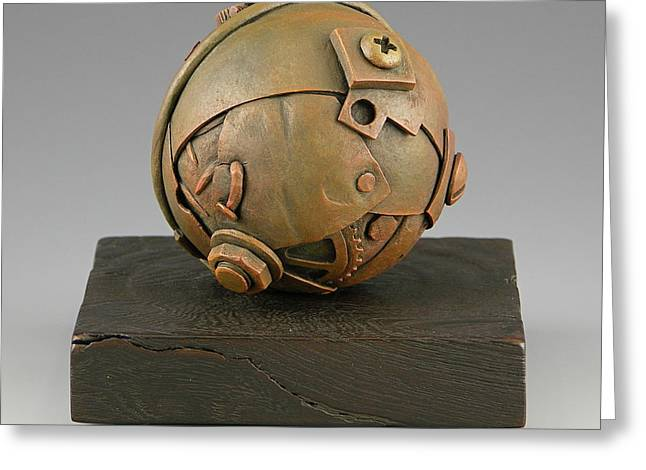 Vesery Sculptures Greeting Cards - Junkyard Dog Ball Greeting Card by Jacques Vesery