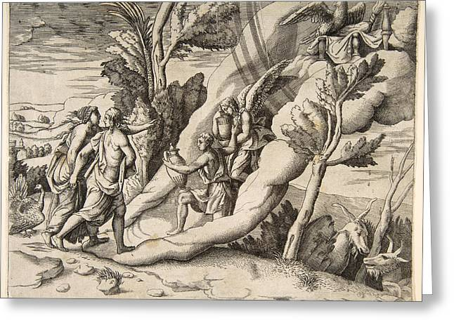 Division Drawings Greeting Cards - Jupiter and Juno being received in the heavens by Ganymede and Hebe Greeting Card by Giulio Bonasone