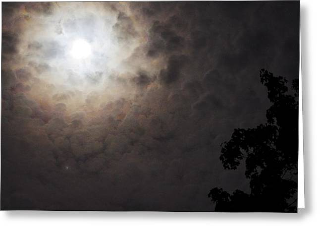 Jupiter And The Moon Greeting Card by Don Youngclaus