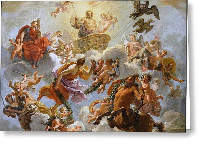 Jupiter Chariot Between Justice And Piety. Study Greeting Card by Noel Coypel