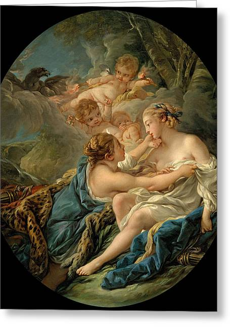 Guise Greeting Cards - Jupiter in the Guise of Diana and Callisto Greeting Card by Francois Boucher