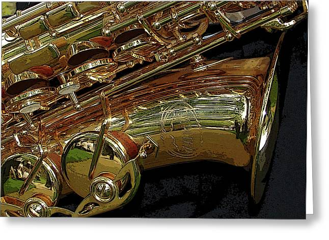 Best Sellers -  - Marching Band Greeting Cards - Jupiter Saxophone Greeting Card by Michelle Calkins
