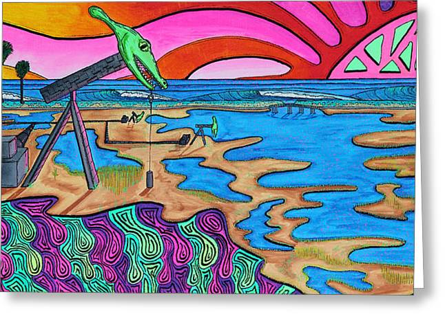 Pch Paintings Greeting Cards - Jurassic Bolsa Chica Greeting Card by Sam Bernal