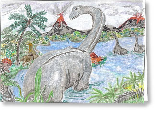 Dinosaurs Pastels Greeting Cards - Jurassic Fantasy Greeting Card by Sandra Sass