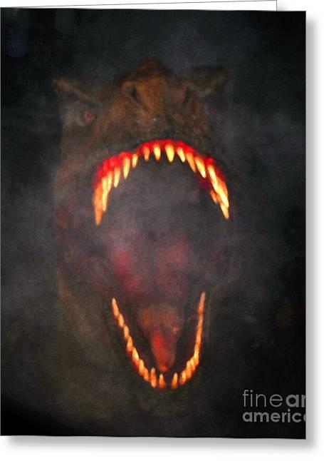 Night Terror Greeting Cards - Jurassic Terror Greeting Card by David Lee Thompson