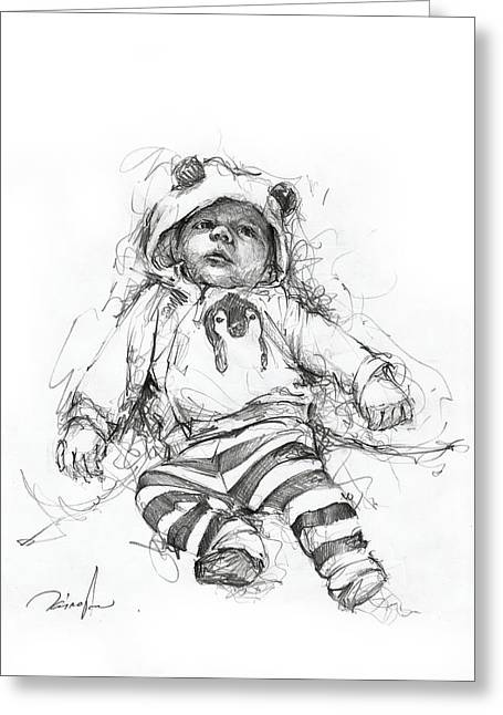 Freakish Greeting Cards - Baby faces Greeting Card by Michael Tsinoglou