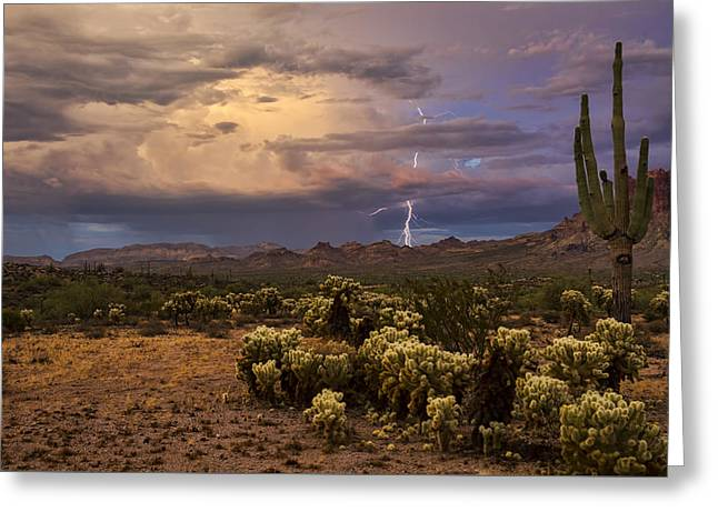 Arizona Lightning Greeting Cards - Just a Bit of Lightning at Sunset Greeting Card by Saija  Lehtonen