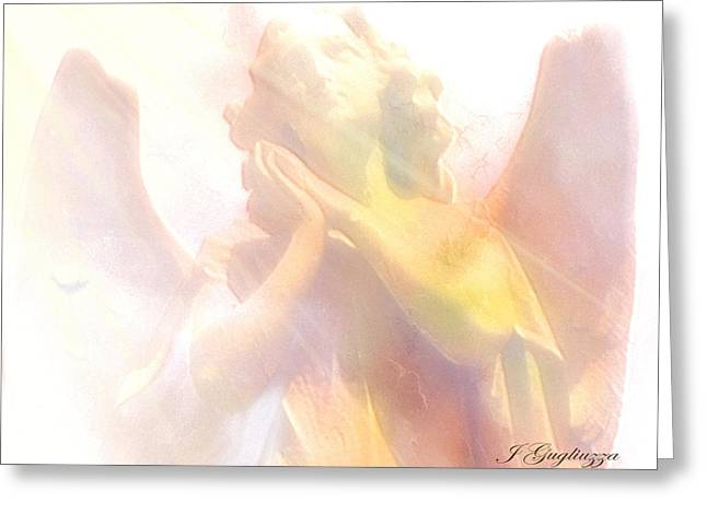 Guardian Angel Digital Greeting Cards - Just a Glimmer  Greeting Card by Jean Gugliuzza