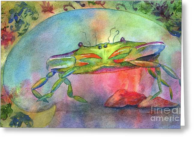 Blue Crabs Greeting Cards - Just a Little Crabby Greeting Card by Amy Kirkpatrick