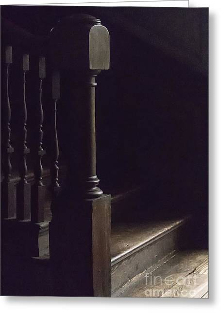 Wooden Stairs Greeting Cards - Just a Little Light Greeting Card by Margie Hurwich