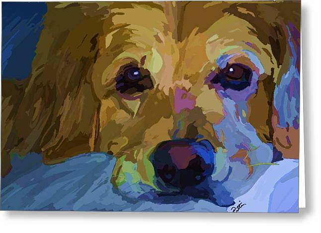 Dog Abstract Greeting Cards - Just another Golden day Greeting Card by Patti Siehien
