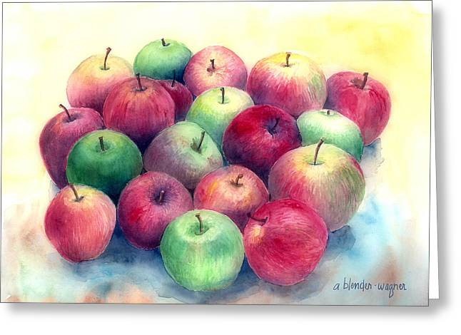 Apple Paintings Greeting Cards - Just Apples Greeting Card by Arline Wagner