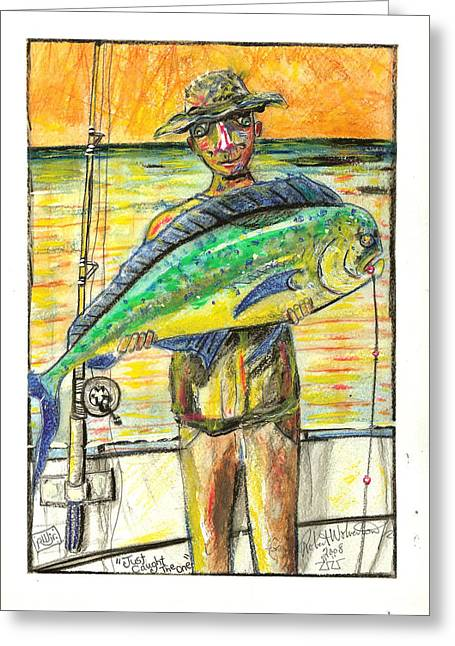Graffiti Pastels Greeting Cards - Just Caught The One Greeting Card by Robert Wolverton Jr