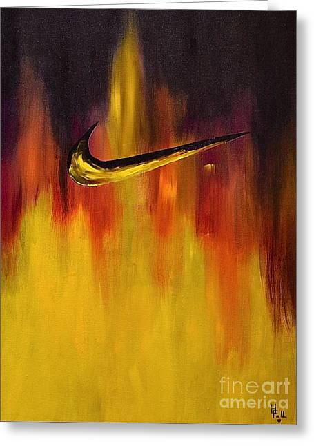 Nike Paintings Greeting Cards - Just Do It Greeting Card by Herschel Fall