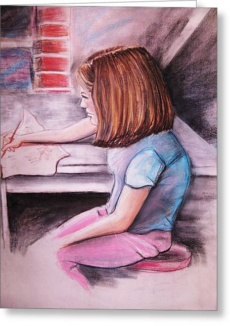 Jordan Drawing Pastels Greeting Cards - Just Draw Me Greeting Card by Scott Easom