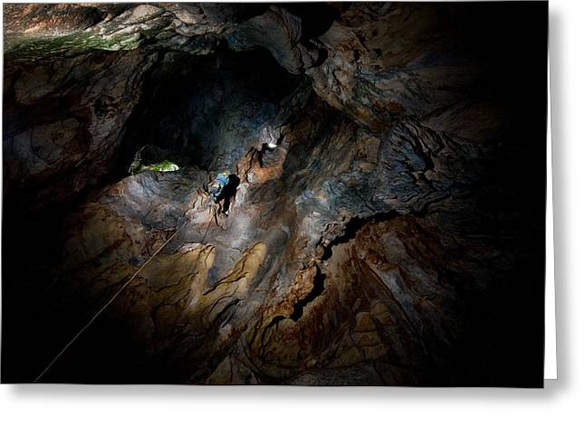 Caves Photographs Greeting Cards - Just Follow The Rope... Greeting Card by Kikroune (christian R.)