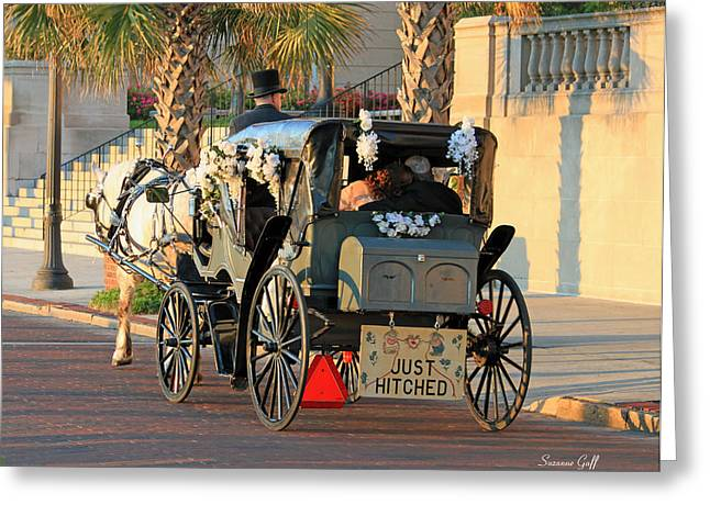 Horse-drawn Digital Greeting Cards - Just Hitched Greeting Card by Suzanne Gaff