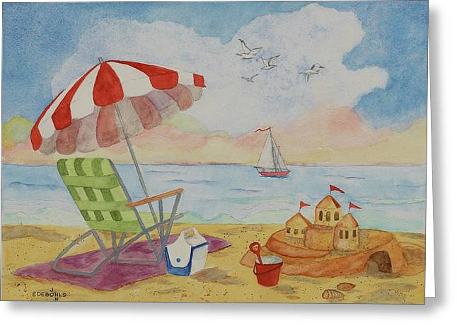 Sand Castles Drawings Greeting Cards - Just Imagine Greeting Card by John Edebohls