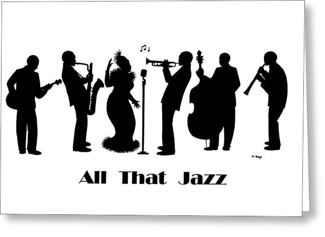 All That Jazz Greeting Cards - Just Jazz - The Band Greeting Card by Di Kaye